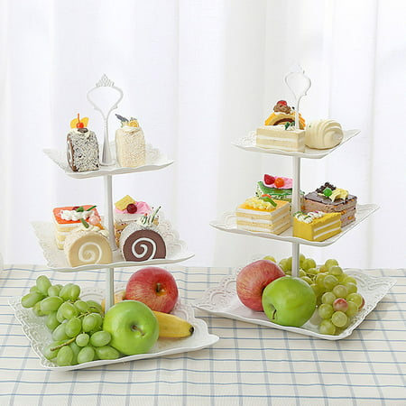 Three Layer PP Fruit Tray Cake Stand Vegetable Storage Rack Candy Plate Dessert Serving Tray - White Plastic Serving Trays