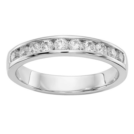 Radiant Fire® Lab Grown 1/2 Ct Round Diamond Channel Band, SI2 clarity, D E F color, in 14K White Gold