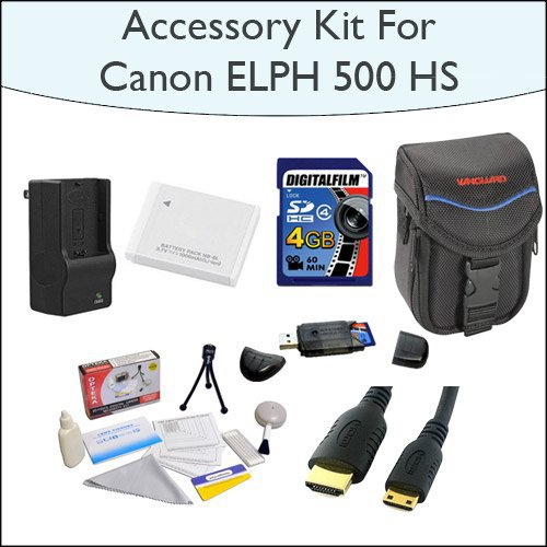 Advanced Accessory Kit With 4GB SDHC High Speed Memory Card, High Capacity NB-6L Replacement Battery, Slim Case, Mini HDMI Cable and Much More for Canon PowerShot ELPH 500 HS 12 MP CMOS Digital Camera