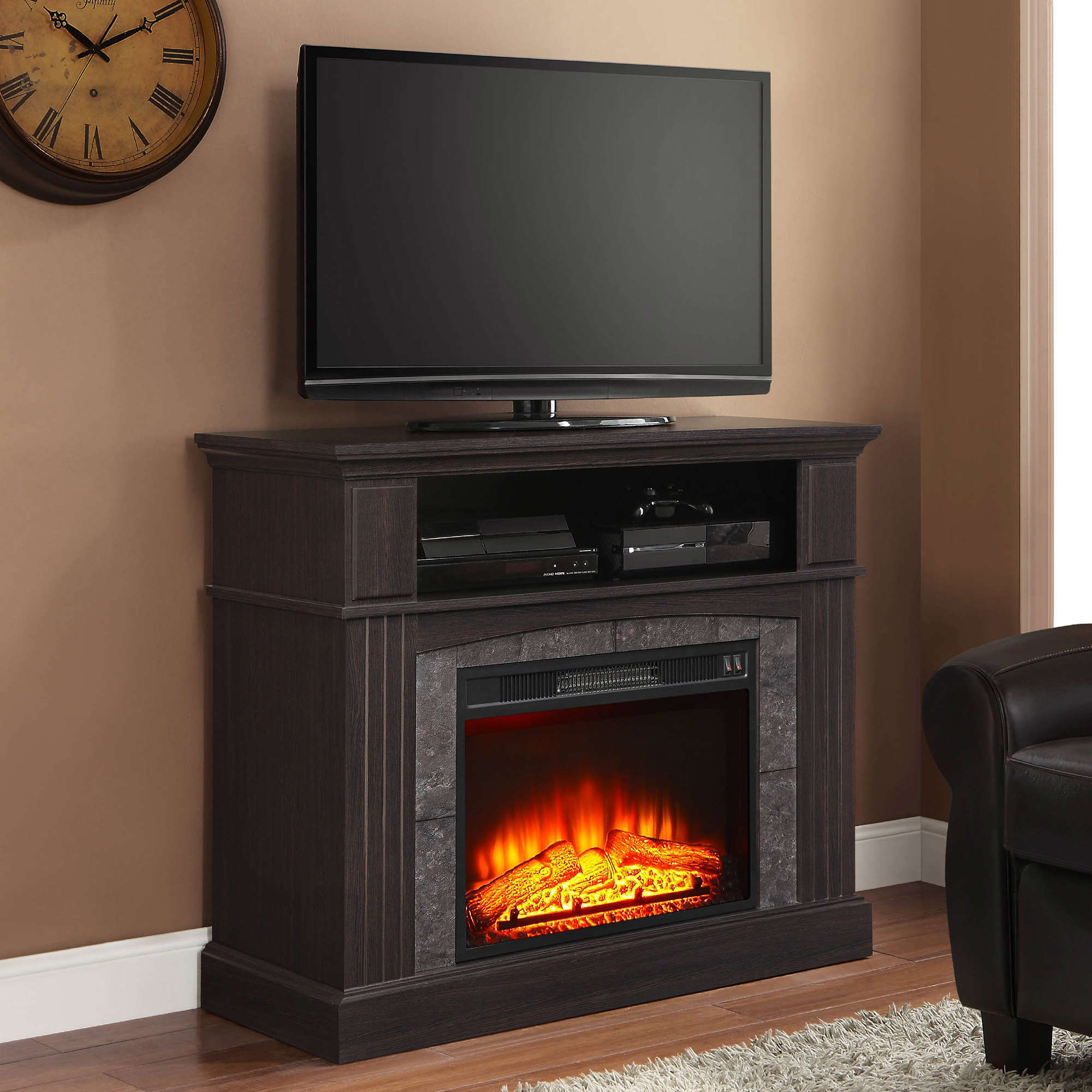 """Whalen Media Fireplace for Your Home, Television Stand fits TVs up to 50,"""" Espresso Finish"""