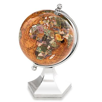 Copper Amber Gemstone Globe 4-inch Contempo Silver Arch and Base