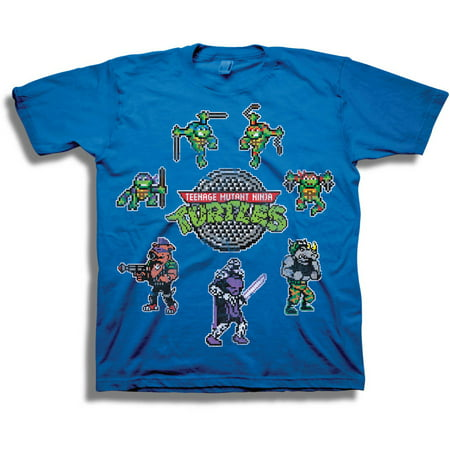 Teenage Mutant Ninja Turtles TMNT Classic Retro 8-Bit Character Sprites Boys' Short Sleeve Graphic Tee T-Shirt - Boys Retro