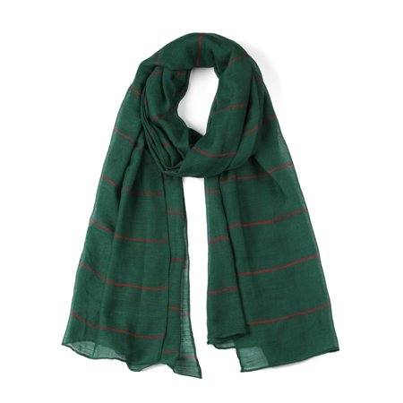 Long Soft Striped Solid Color Scarf for Women