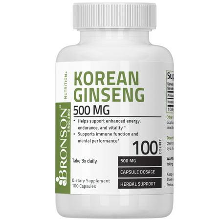 Korean Ginseng Royal Jelly - Bronson Korean Ginseng 500 mg, 100 Capsules