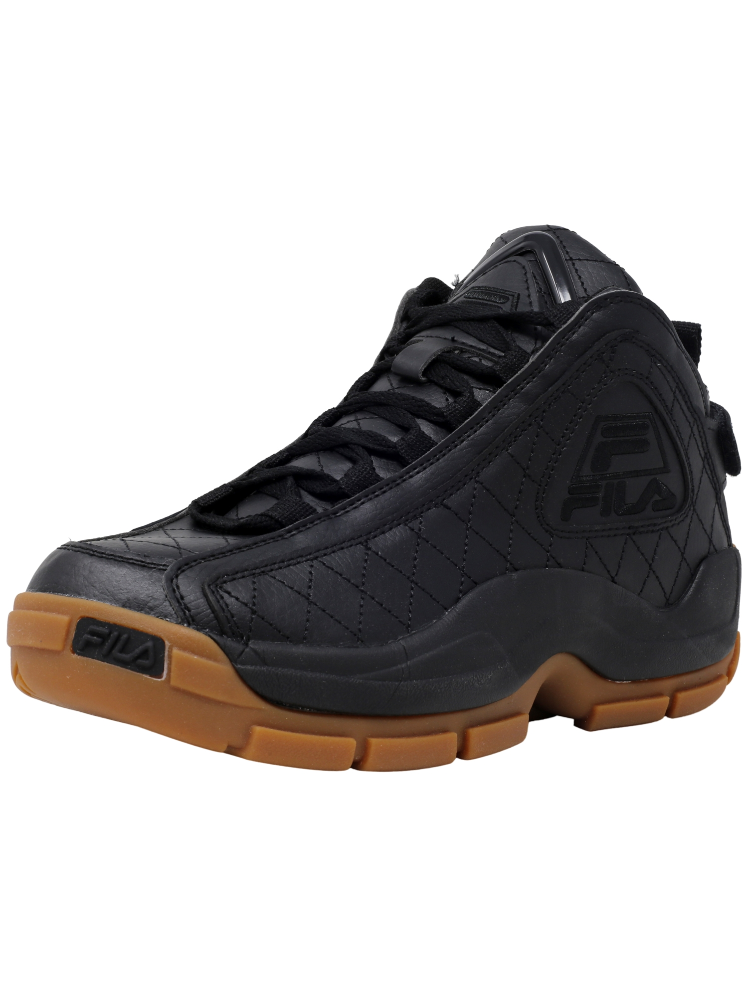 Fila Men's 96 Quilted Black   White Gum High-Top Basketball Shoe 8M by Fila