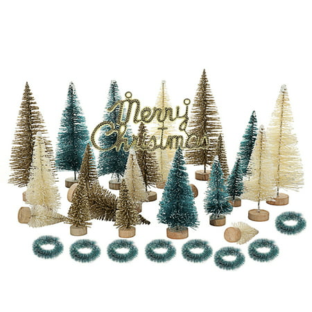 33 Pcs Artificial Frosted Sisal Christmas Tree Wood Base DIY Crafts Mini Pine Tree for Christmas Home Table Top Decor ()