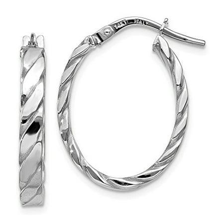 14k Patterned Hoop Earrings - 14K White Gold 3 MM Patterned Oval Hoop Earrings, 24 MM