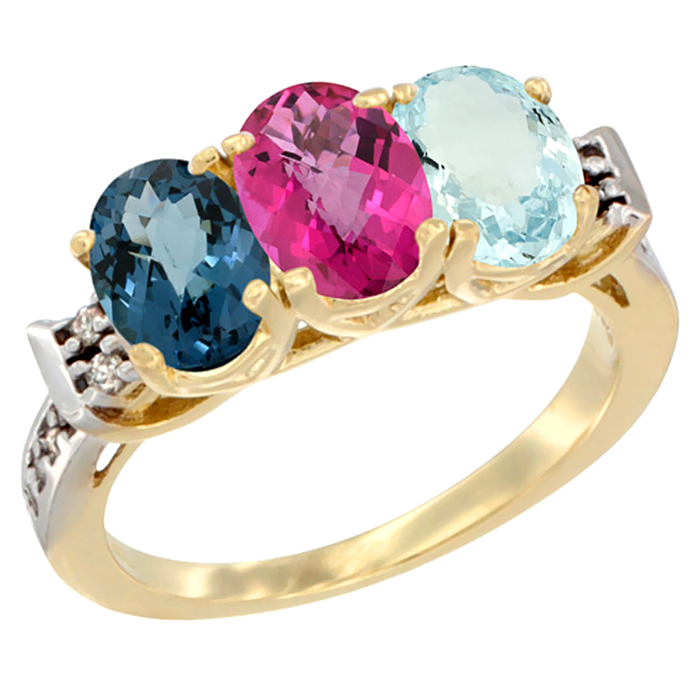 14K Yellow Gold Natural London Blue Topaz, Pink Topaz & Aquamarine Ring 3-Stone 7x5 mm Oval Diamond Accent, sizes 5 10 by WorldJewels