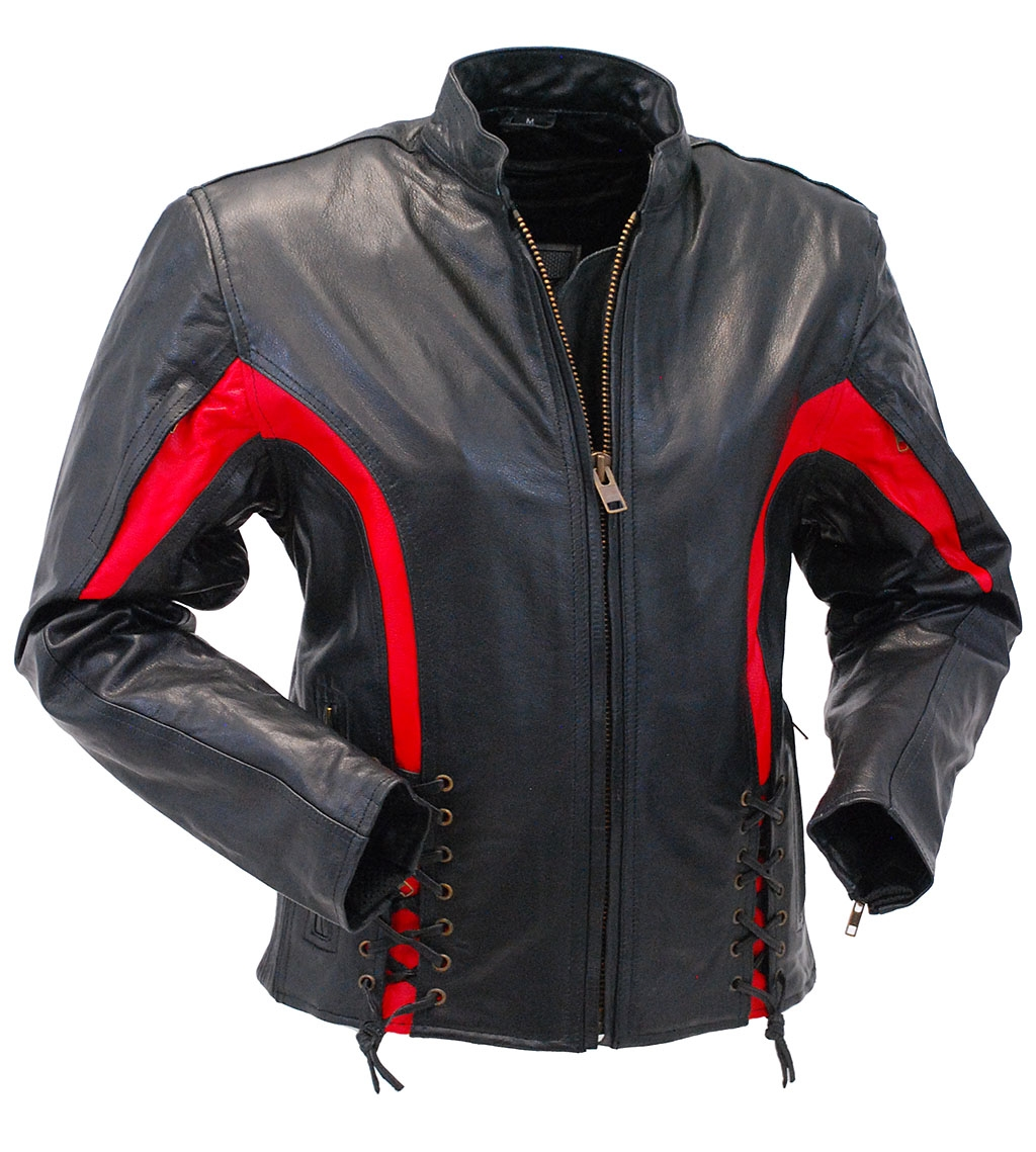 Women's Red Trim Lace Up Vented Motorcycle Jacket #L2577LVZR - XL