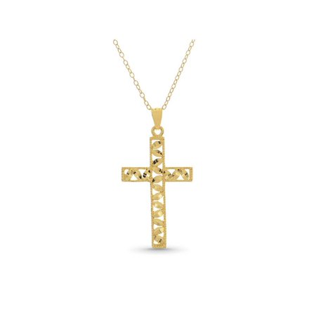 18K Gold Over Sterling Silver Diamond Cut Leaf Cross Pendant 18 Inches