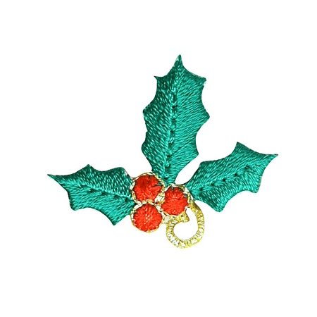 Christmas - Holly with Red Berries - Iron On Embroidered Applique (Berry Patch)