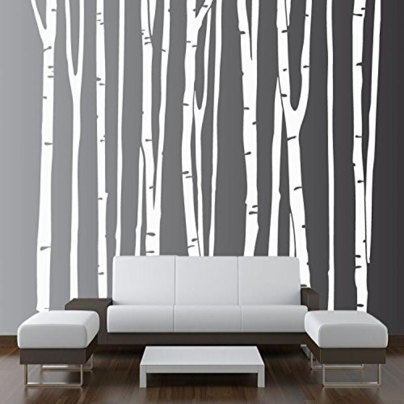 Innovative Stencils 1109 108 white Large Wall Birch Tree Decal Forest Kids Vinyl Removable Sticker , 9-Trees