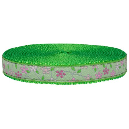 3/4 Inch Fresh Spring Floral Ribbon on Hot Lime Green Nylon Webbing Closeout - Lime Green Ribbon