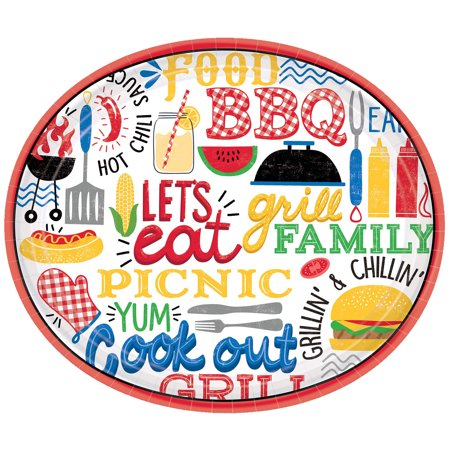 BBQ Picnic Oval Dinner Plates