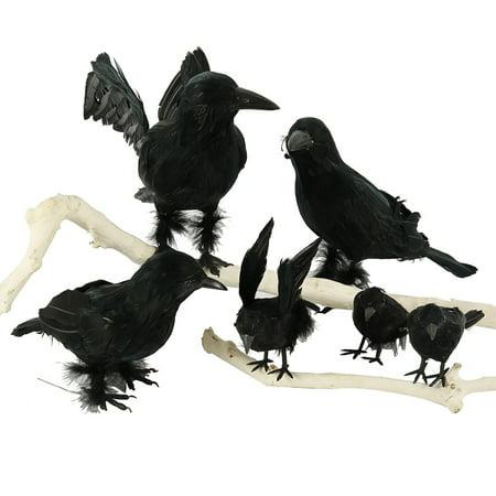 Halloween 2019 Amsterdam (2019 New Halloween Crow Fake Bird Toys Black Ravens Prop Fancy Dress Halloween Decoration Haunted House)