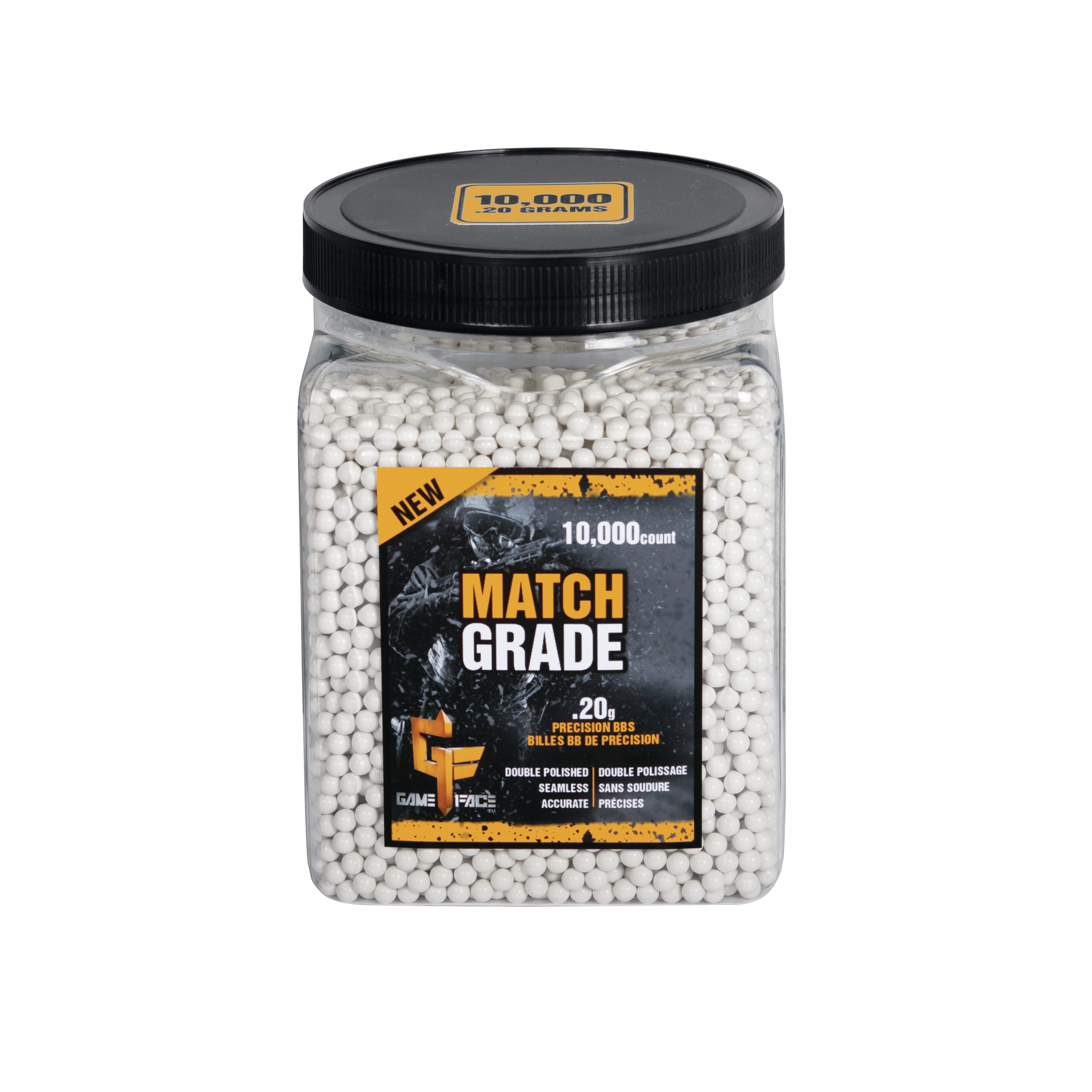 Gameface Professional Heavy Weight Match 20gr Airsoft BB Ammo, 10,000ct