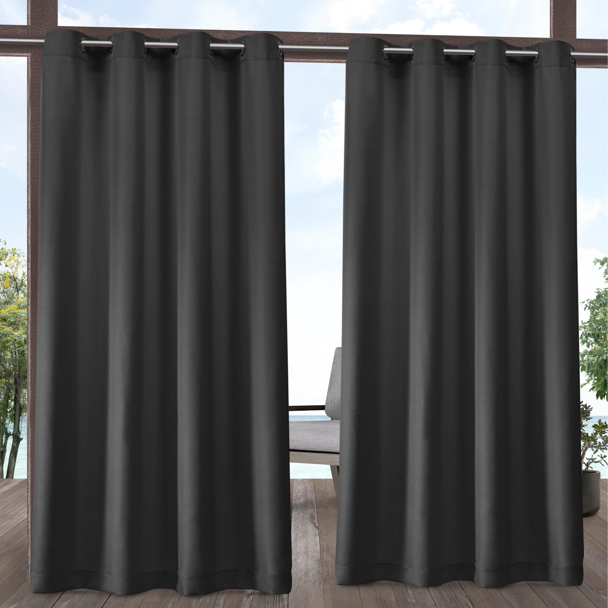 Exclusive Home Curtains 2 Pack Indoor/Outdoor Solid Cabana Grommet Top Curtain Panels