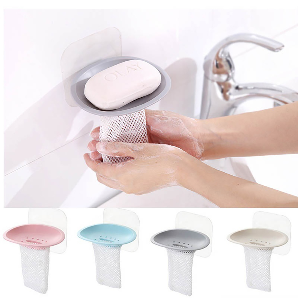 Moderna Bathroom Seamless Wall-Mounted Net Attached Soap Holder Case Draining Dish
