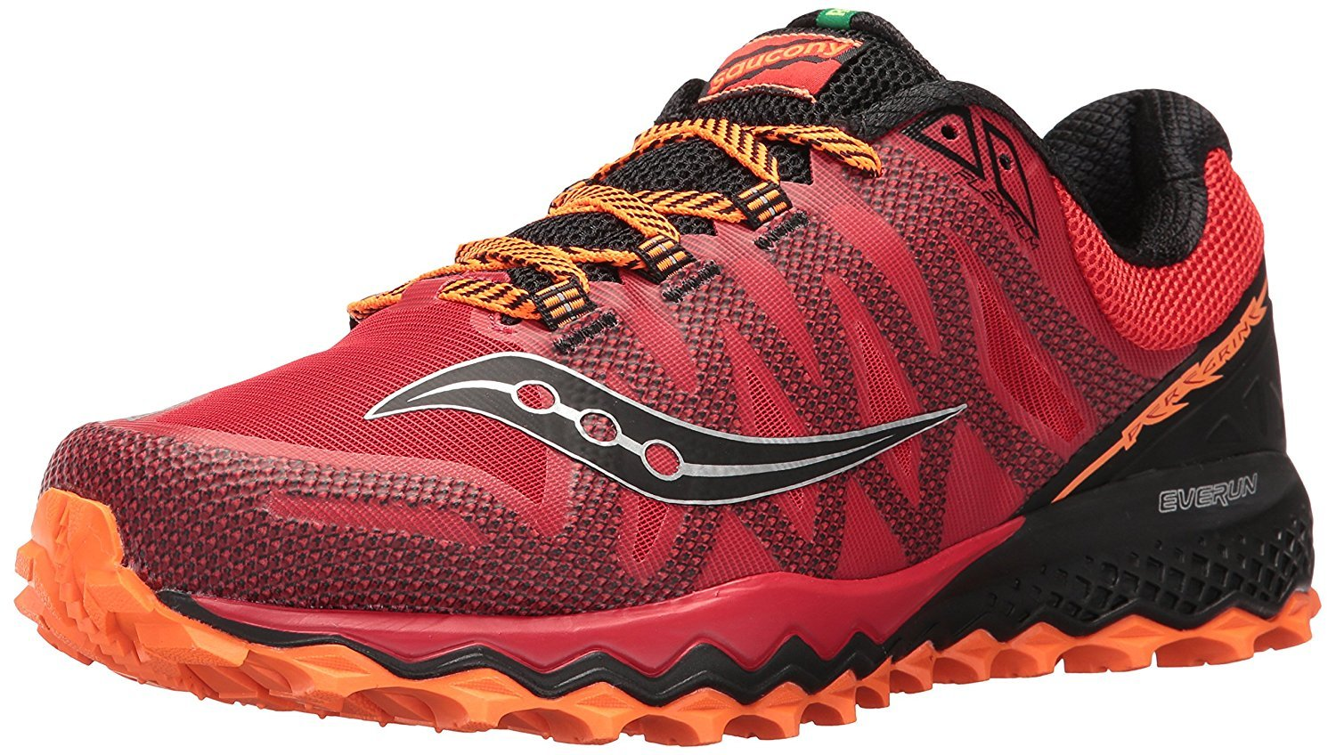 Saucony Men's Peregrine 7 Trail Runner, Red Orange Blue, 10.5 M US by Saucony