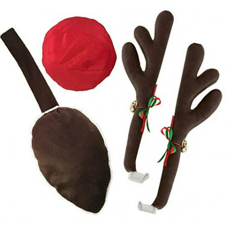 KOVOT Reindeer Car Set: Includes Car Jingle Bell Antlers Antlers, Nose, and Tail For The Trunk](Reindeer Car Antlers)
