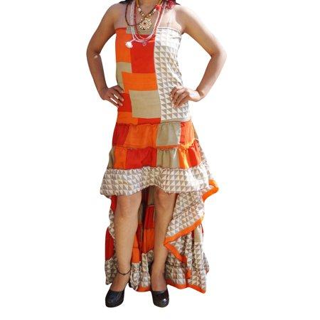 Mogul Womens Hi low Accents Dress Recycled Silk Ruffle Tiered Design Trendy Printed Flowy Strapless Bohemian Sundress - Trendy Silk Dresses