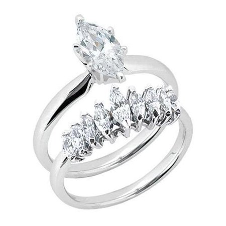 Harry Chad Enterprises 33676 1.01 CT Marquise Ring & Band Set Marquise Cut Diamonds Solitaire Ring - image 1 of 1
