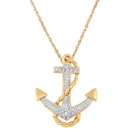 Gold over Sterling Silver Crystal Anchor Pendant, 18