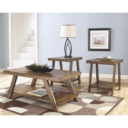 Ashley Bradley 3 Piece Coffee Table Set in Burnished Brown - image 2 de 2