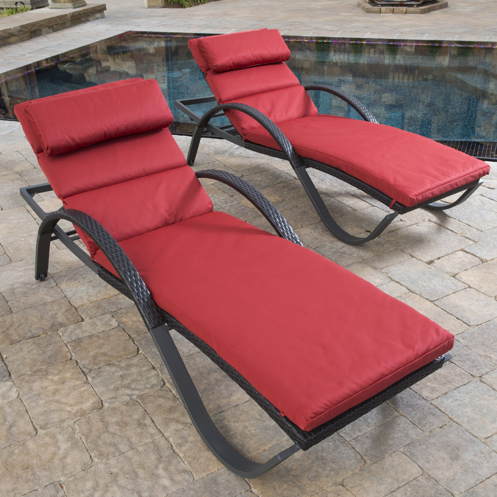 RST Outdoor Cantina Deco Lounger with Cushion and Bolster Pillow - Set of 2