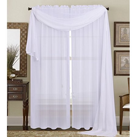 1PC White Sheer Panel Solid Sheer Curtain Drape Long Fully Stitched with Rod Pocket for Wedding Quinceniera Birthday Gender reveal Baby Shower Party décor 55