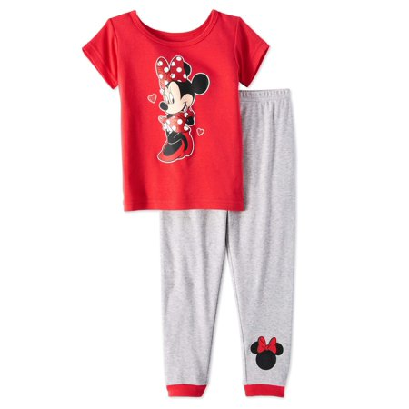 Minnie Mouse Minnie mouse baby toddler girls' short sleeve tight fit pajamas, 2pc set