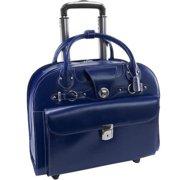McKlein EDGEBROOK, Wheeled Ladies' Laptop Briefcase, Top Grain Cowhide Leather, Navy (96317)