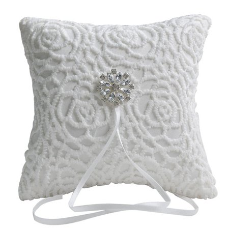 - White Lace Rhinestone Wedding Ring Bearer Pillow, 6 x 6 inch, Wedding Collection