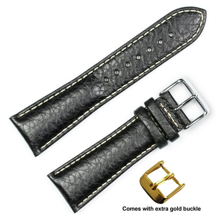 deBeer brand Sport Leather Watch Band (Silver & Gold Buckle) - Black 24mm