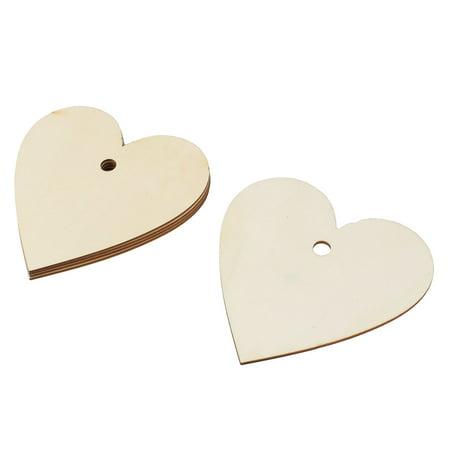 Wooden Love Heart Shaped Wedding DIY Craft Accessories Beige 150mm x 150mm 5 Pcs - Wooden Hearts Crafts