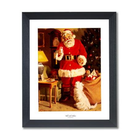 Old St Nick Santa Clause Christmas #4 Wall Picture Black Framed Art Print - Santa Frame