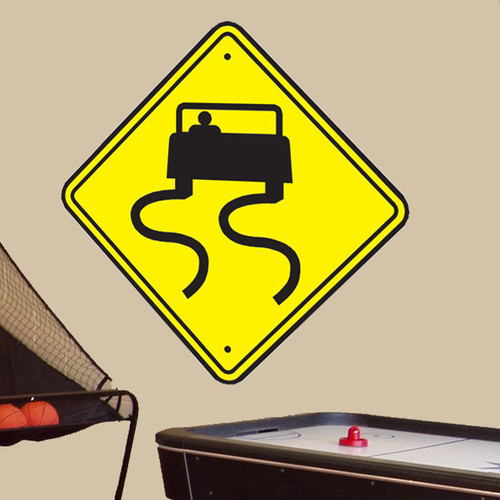 Wallhogs Slippery Road Sign Wall Decal