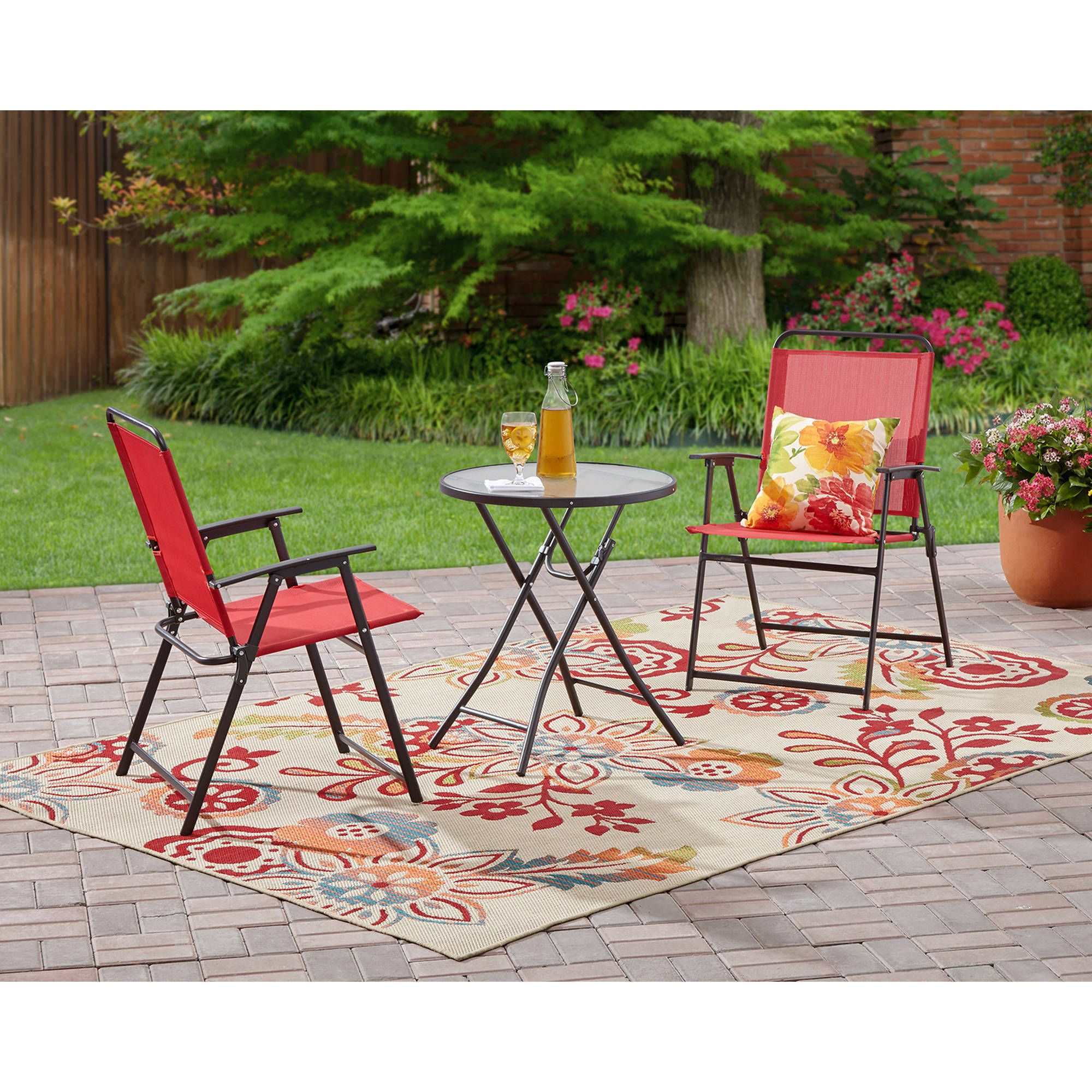 Sensational Mainstays Pleasant Grove 3 Piece Folding Bistro Set Red Walmart Com Bralicious Painted Fabric Chair Ideas Braliciousco