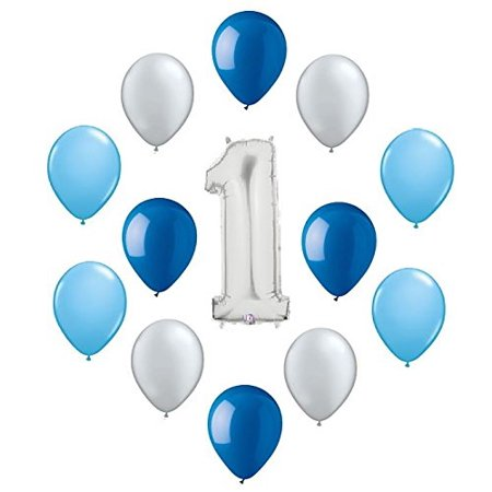Number ONE #1 1st First Silver Blue Boy Birthday Party 13 Mylar & Latex Balloons Set, Number ONE #1 1st Silver & Blue Boy Birthday Party 13.., By - Silver Mylar Balloons