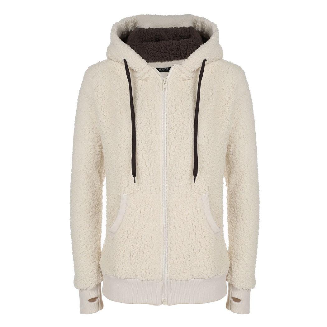 ACEVOG Women Fashion Soft Fleece Hooded Jacket Coat HDPML