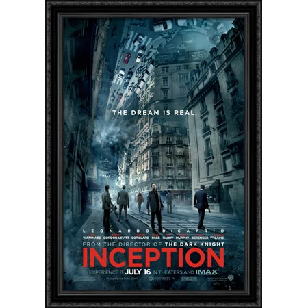 Inception 28x40 Large Black Ornate Wood Framed Canvas Movie Poster Art