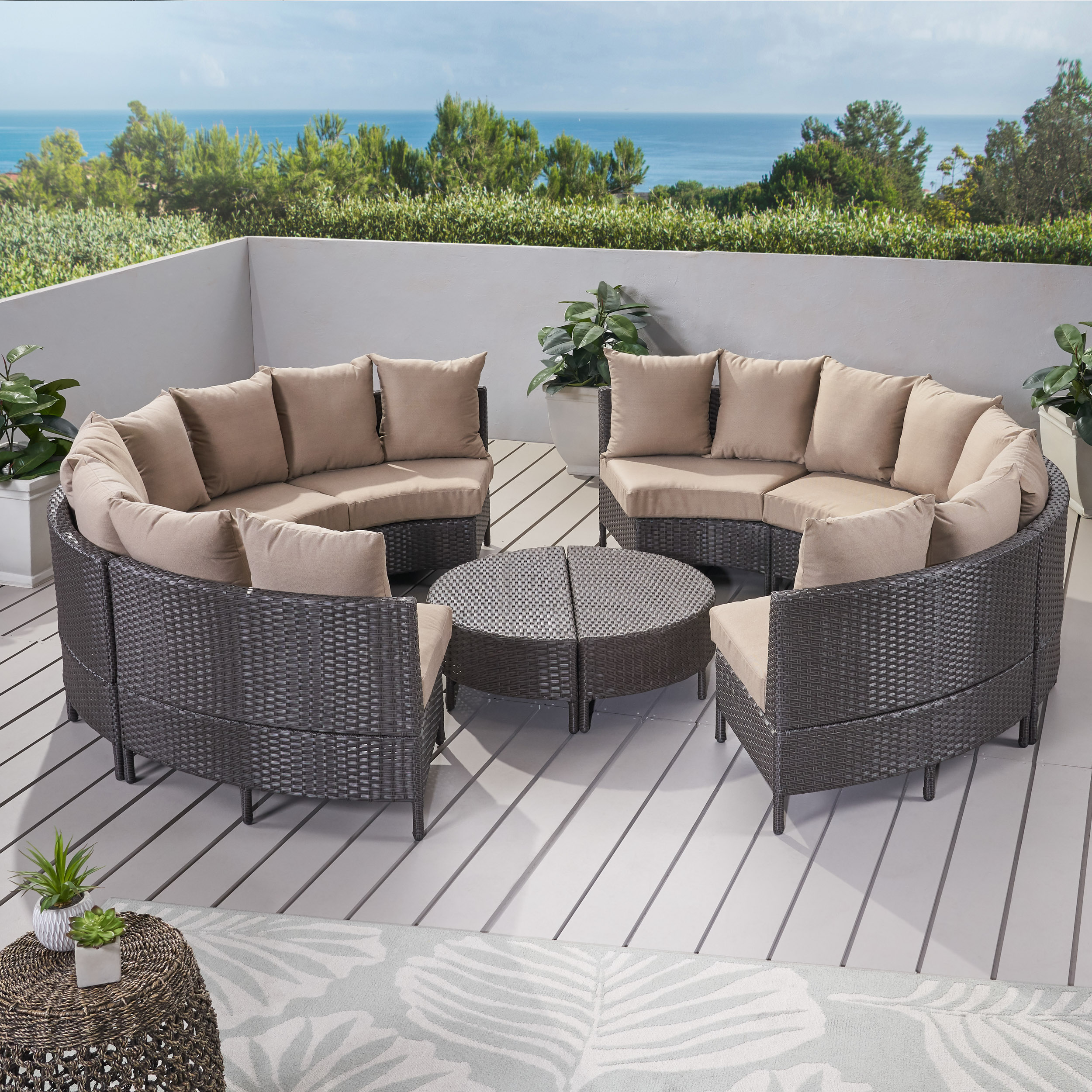 Miggy Outdoor 8 Seater Round Wicker Sectional Sofa Set With Coffee Tables Dark Brown And Beige Walmart Com Walmart Com