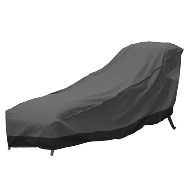 North East Harbor CHAIR-78L 78 x 36 in. Outdoor Patio Chaise Lounge Chair Cover, Dark Grey with Black Hem - image 3 of 3
