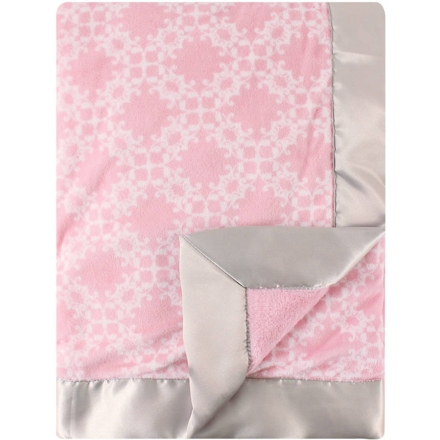 Hudson Baby Plush Blanket with Satin Backing, Damask