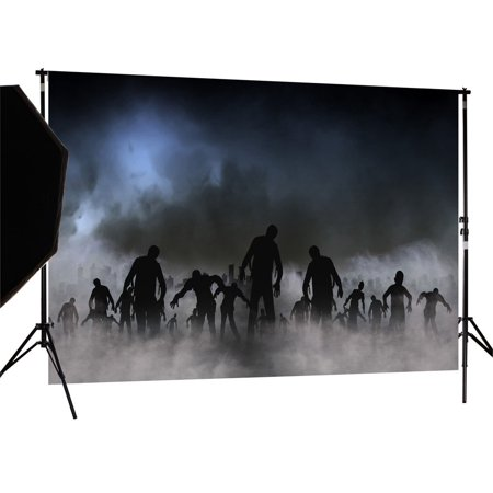 GreenDecor Polyster 7X5ft Halloween Zombie Horror Photography Backdrop Photo Background Studio - Purple Halloween Backgrounds