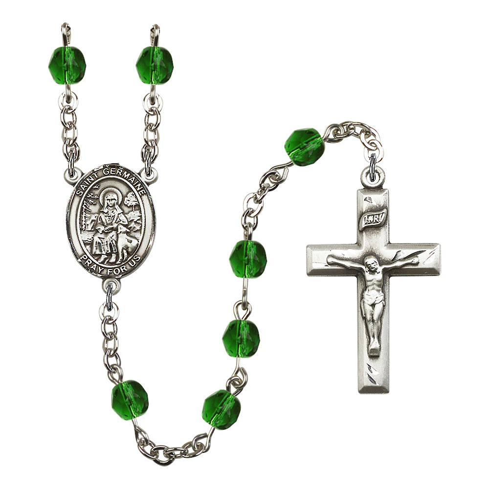 St. Germaine Cousin Silver-Plated Rosary 6mm May Green Fi...