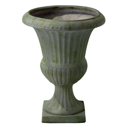 Ulysses 22.5 in. Grey with Green Moss Urn Planter
