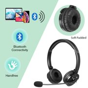 LUXMO Over The Ear Wireless Bluetooth Foldable Headset, Rechargeable Noise Cancelling Headphones with Boom Microphone On Ear Phone Headset for Office Phone Call Center Customer Service PC