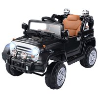 GHP Kids Black Plastic 3-5Km/Hr Remote Controlled Truck Jeep Ride On Car w LED Lights
