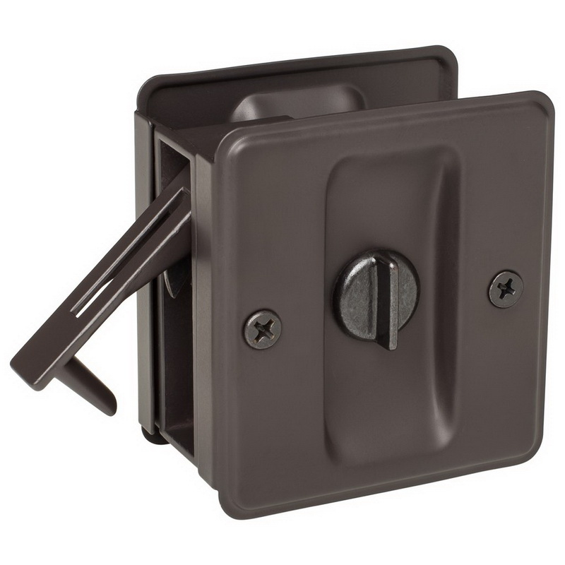 (Price/each)Harney Hardware 32520 Pocket Door Lock, Privacy, Solid Brass, 2 1/2 In. X 2 3/4 In.